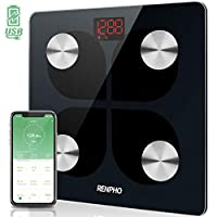RENPHO Bluetooth Body Fat Smart Scale USB Rechargeable Digital Bathroom Weight Scale Body Fat Monitor with Smatrphone App, 396 lbs