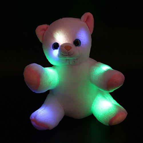 de Nachtlicht Umarmbare gefüllte Katze Premium Weiche Angefüllte Tier Spielzeug mit bunten Blitz LED Licht Geschenke, 8-Inch/ 20CM, Weiß (Teddybär Gefälligkeiten)