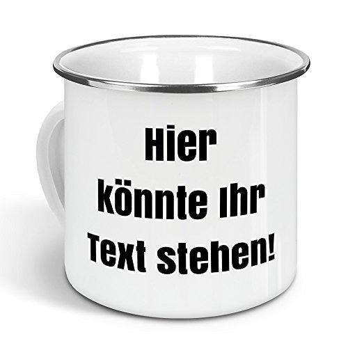 printplanet - Emaille-Tasse mit eigenem Text Bedrucken Lassen - Blechtasse Personalisieren - Nostalgie-Becher mit eigenem Spruch, Farbe Silber, 300ml