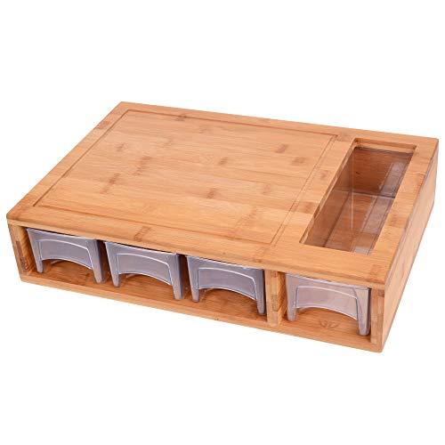 GRÄWE Bambus Schneidebrett groß, 40 x 27 cm, Holzbrett für Rechtshänder, Küchenbrett mit Auffangschalen, klingenschonend, rechteckig