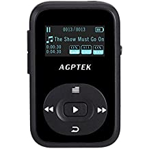 AGPTEK A26- Clip Bluetooth Reproductor Mp3 8GB Pantalla OLED 1.1 pulgadas con FM Radio ( una Funda silicona incluido), Color Negro