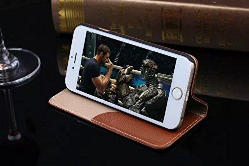 EKINHUI Case Cover Litchi Haut-Beschaffenheit Hochwertige echtes Leder-Standplatz-Fall-Abdeckung mit Einbauschlitz für IPhone 6 u. 6s ( Color : Rose ) Brown