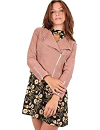363ad09a8f2f Miss Truth Long Sleeves Side Zip Collared Suede Biker Jacket Brown