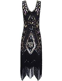 Metme - Vestido de Fiesta para Mujer con Flecos de los años 20