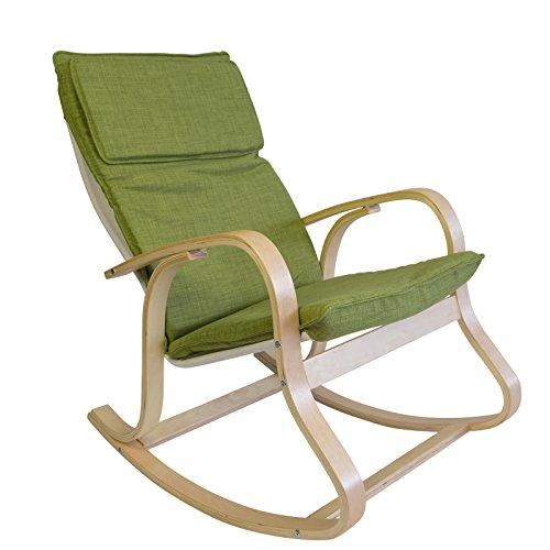 Homestyle4u Schaukelstuhl Schwingsessel Sessel Relaxstuhl Polster grün Gestell natur