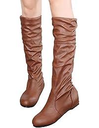 2fb649bf3b0 Women s Flat Heel Winter Boots Fashion Shoes Long Booties Shoes Size 38  (Brown)