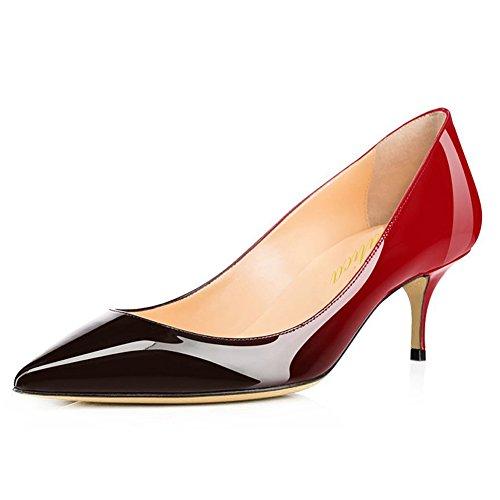 Kitten High Heel (Lutalica Frauen Lackleder Spitzschuh Kitten Heel Hochzeit Kleid Schuhe Büro Pumps Schuhe Rot Schwarz Größe 38 EU)