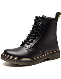 Botas de Mujer Cuero Impermeables Botines Hombre Invierno Zapatos Nieve Piel Forradas Calientes Planas Combate Militares Boots