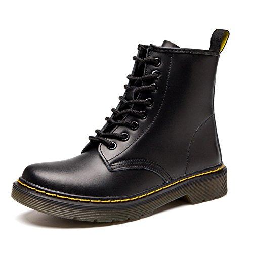 ukStore Damen Martin Stiefel Derby Wasserdicht Kurz Stiefeletten Winter Herren Worker Boots Profilsohle Schnürschuhe Schlupfstiefel, Schwarz 41