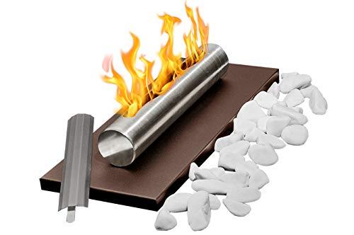 Bio-Ethanol-Kamin Eco Tischplatte BRAUN Bio-Kamin Heizung Brenner Feuer Tisch Tragbare + Dekorative Steine + 1 Liter BIO-Kraftstoff