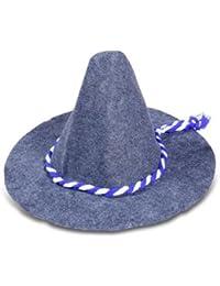 chapeau Bavarois cône conique fête de bière gris feutre epais cordelette cousue