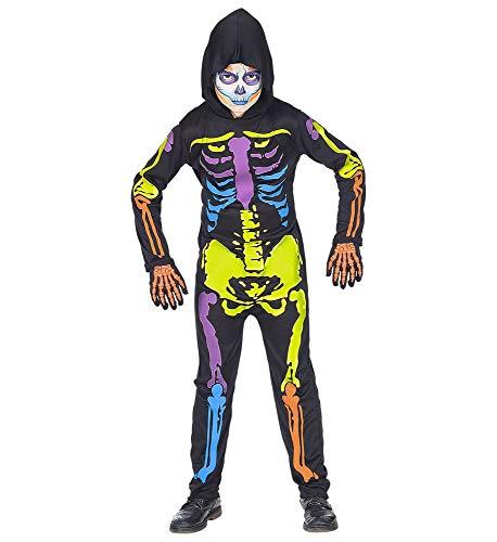 shoperama Halloween Kapuzen-Overall Buntes Skelett Kinder Kostüm Jungen Mädchen Horror Gerippe Knochen gruseliges, Größe:140 - 8 bis 10 Jahre (Jungen Horror Kostüm)