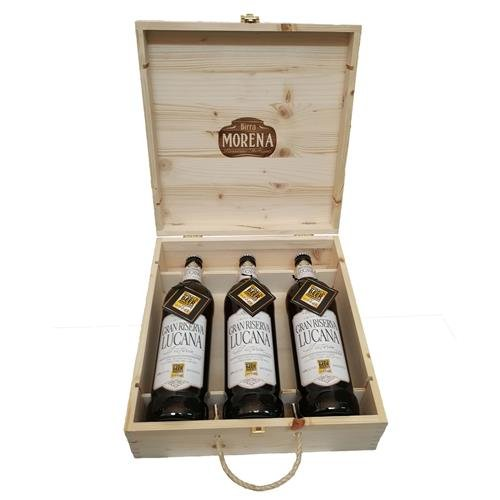 CRAFT BEER - 3 BOTTIGLIE CL 75 IN FIR BOX - NATURAL - GRAN RISERVA LUCANA