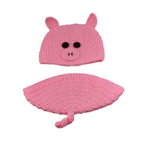 es Baby Fotografie Requisiten häkeln Kostüm Hut und Hose Outfits Kleinkind Photoshoot Sets Rosa Schwein Design ()