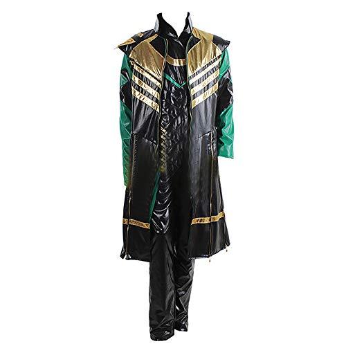 RenXinU Loki Halloween Cosplay Costume Uniform Suit Outfit Set di Cappotto + Giacca + Pantaloni Taglia L