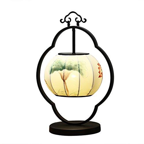 LILY Die neue chinesische Stil handbemalte Schmiedeeisen Laterne Lampen, Retro Bedside Lampe Studie Deco Hotel dekorative Schreibtisch Lampe (Deco-schreibtisch-lampe)