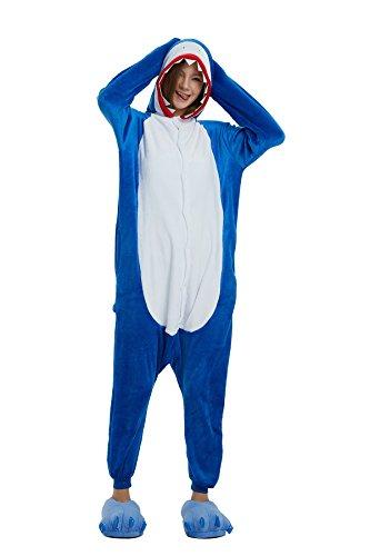 afanzug Tier Pyjamas Overall Cosplay Strampelanzüge Nachthemden Kleid Karikatur Neuheit Jumpsuit Kostüme Erwachsene Kinder Weihnachten Karneval (S for 150CM- 160CM, Shark) ()