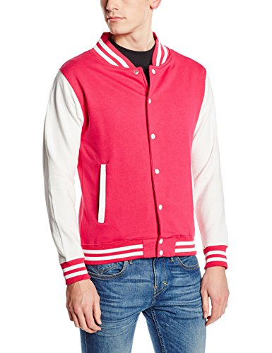 Just Hoods by AWDis Herren Jacke Varsity Jacket, Rosa / Weiße Ärmel