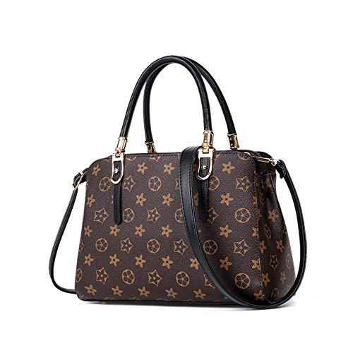 WOAIRAN Frauen Umhängetasche Mode Vintage Druck Handtasche Messenger Bags Damen Einfache Elegante Aktentasche Crossbody TascheSchwarz (Handtaschen Gucci Vintage)