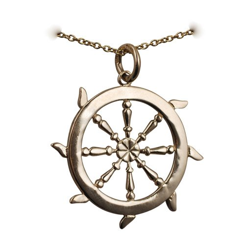 9ct Gold 17mm solid Ships Wheel Pendant with a cable Chain