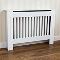 Home Discount Chelsea Radiator Cover Modern Slatted Grill Slats White Painted MDF Cabinet, Medium