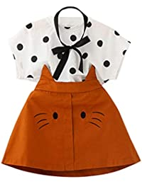 Baby Girls Clothes Set,Minsho for 0-7 Years Old Toddler Kid Baby Girl Outfits Clothes Dot Print T-Shirt+Cat Embroidery Skirt Set
