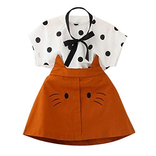 iHAZA Kleinkind Kind Baby Mädchen Outfits Kleidung T-Shirt mit Punktmuster + Katze Stickerei Rock Set