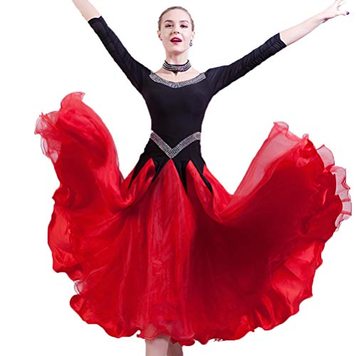Kostüm Wettbewerb Tanz Zeitgenössische Für - Frauen Kostüme Performance Tanz Standard Ballsaal-Wettbewerb Kleider Modern Walzer Tango Erweiterungsrock Ballsaal-Tanzen-Kleidung, XL