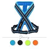Jamory Hundegeschirr X Geschirr Brustgeschirr mittelgroße Grosse Hunde reflektierend Soft (L, Blau)