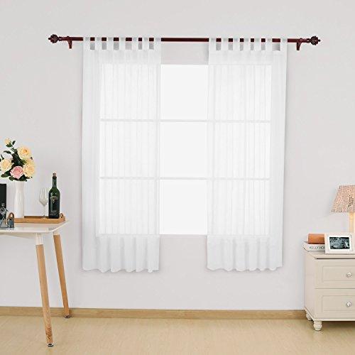 Deconovo Vorhang Transparent Gardinen Transparent Schlaufenschal Transparent 175x140 cm Weiß 2er set
