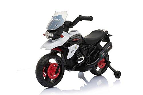 Moto Elettrica Enduro Corsa Per Bambini con Luci e Suoni rotelle 6V Bianca