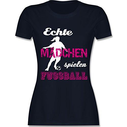 Fußball - Echte Mädchen Spielen Fußball weiß - M - Navy Blau - L191 - Damen Tshirt und Frauen T-Shirt -