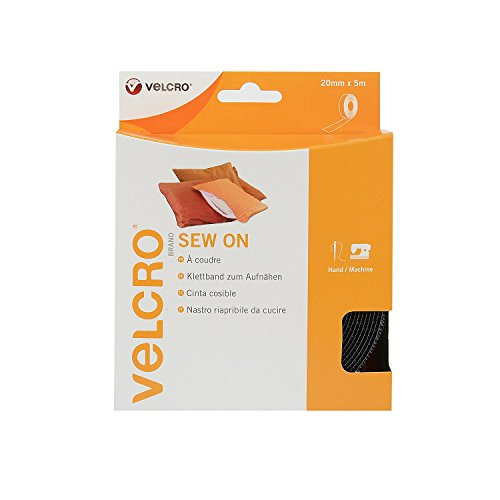 VELCRO - Sew on Tape 20mm X 5 Meter schwarz - Klettband zum Aufnähen Haft und Flauschteil (BxL) 20mm x 5 Meter schwarz -