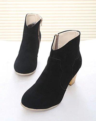 Minetom Tubo Corto Scarpe Con Tacco Stivali Bassi Donna Con Tacchi Mode Camoscio Stivaletti Martin Boots Nero