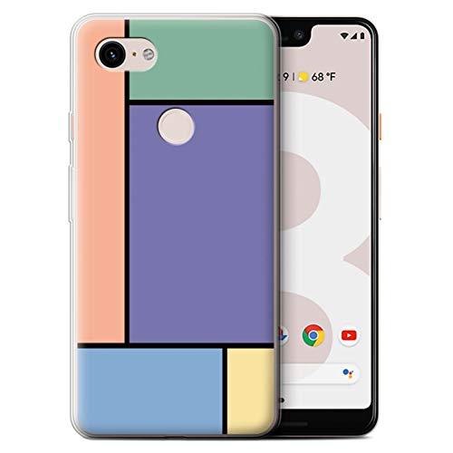 Stuff4® Gel TPU Hülle/Case für Google Pixel 3 XL / 5 Fliesen/Lila Muster/Pastell Fliesen Kollektion
