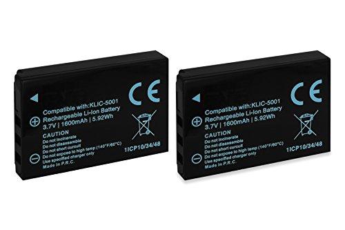 2x Batterie Klic-5001 per Kodak Easyshare DX6490, DX7440, DX7590, (Memoria Dx6490 Kodak)