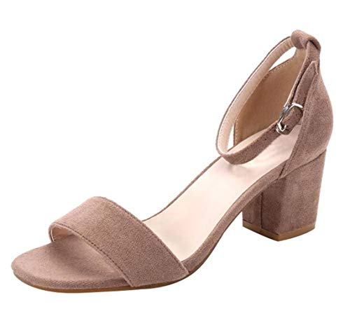 382b6ef71de938 Women s Classic Square Open Toe Strappy Ankle Buckle Sandals Low Block Heels  Court Shoes Camel Faux