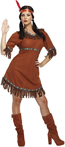 Emmas Wardrobe Frauen Native Indian Kostüm - Enthält American Indian Abendkleid und mit Federn versehene Stirnband - Pocahontas-Kostüm für Halloween - UK Größen 8-12 (Women: 34, Indian) (Red Indian Womens Kostüm)