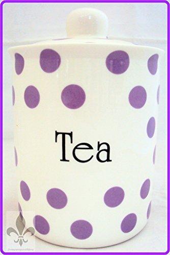 Violet Pois Boîte à thé en porcelaine Fine de Lavande-Pot à thé-décoré à la main en forme de U. K.-gratuite