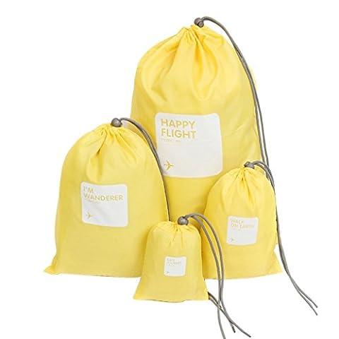 Toophoto Organiseur Planning de stockage 4-set Voyage à linge Lingerie Sac à cordon, femme, jaune