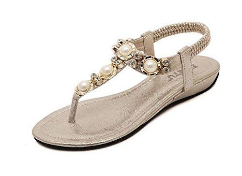 SHINIK Damen Open Toe Flip Flops College Style Hausschuhe Wulst Stein Kleine Wedge Sandalen Gold