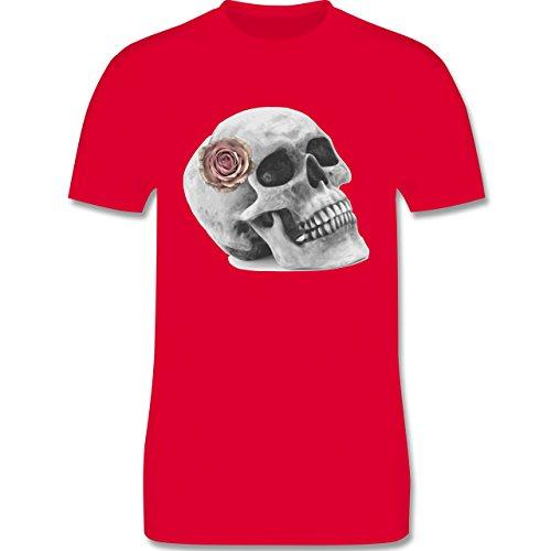 Rockabilly - Totenkopf Rose Vintage Skull - Herren Premium T-Shirt Rot