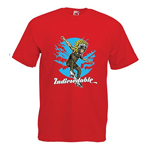 lepni.me Maglietta da Uomo Indicredable - Skateboard Design, Solo per Pattinatori Professionisti (Medium Rosso Multicolore)
