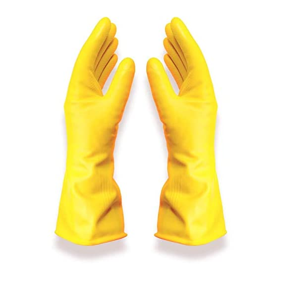 Nivera - Trust That Make Us Best Reusable Latex Rubber Safety Kitchen Gloves for Dishwashing, Cleaning and Lab Work, Free Size (Yellow)