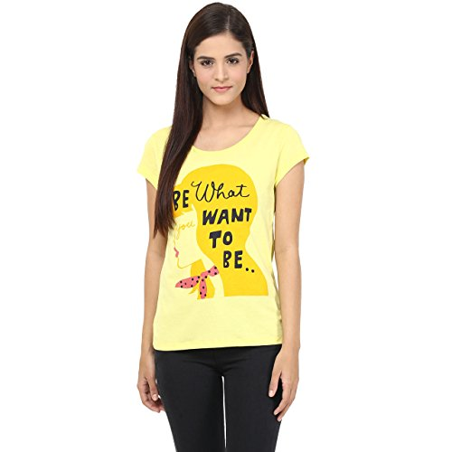 Honey By Pantaloons Women's Cotton T-Shirt (205000005529782_Yellow_X-Large)  available at amazon for Rs.199