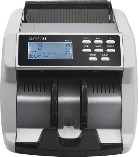 Olympia NC 570 Geldzählmaschine (für Scheine, Echtheitsprüfung, Gemischte Banknoten, LCD-Display, Geldzähler-Maschine für Euro, Dollar, Pfund etc., Profi Geldscheinzähler mit Sortiermodus)