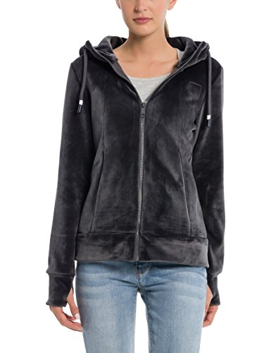 Bench Damen Strickjacke Core Fleece Zip Through Hoody, Grau (Dark Grey Gy149), Medium (Herstellergröße: M) (Zip Front Kapuzen-strickjacke)