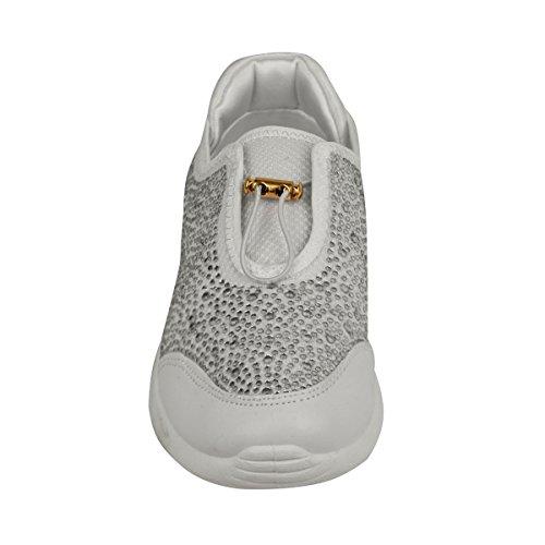 Strass Tamanho Couro Branco Sintético Bombas Plana Lazer Sneakers Sapatos Femininos Sapatilhas Lace 0rqwR0xZ