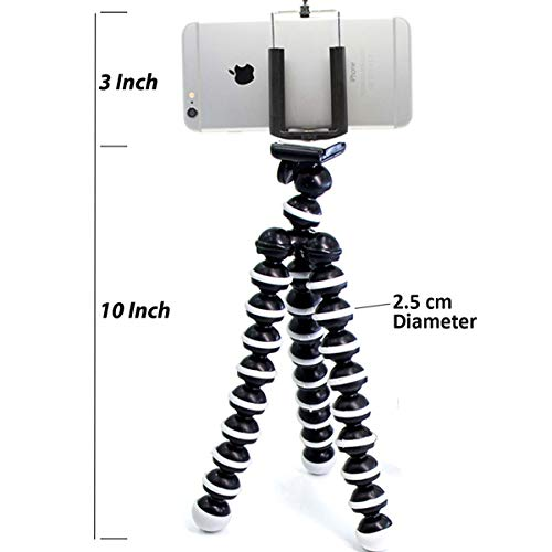 Meya Happy GR13C ABS Plastic Foldable Octopus Mini Gorilla Tripod Stand for Mobile Camera, DSLR, Smartphone and Action Cameras(13-inch, Silver)