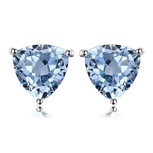 JewelryPalace Trillion 1.9ct natürlicher Himmel blauer Topas Birthstone reiner 925 Sterlingsilber-Bolzen-Ohrringe